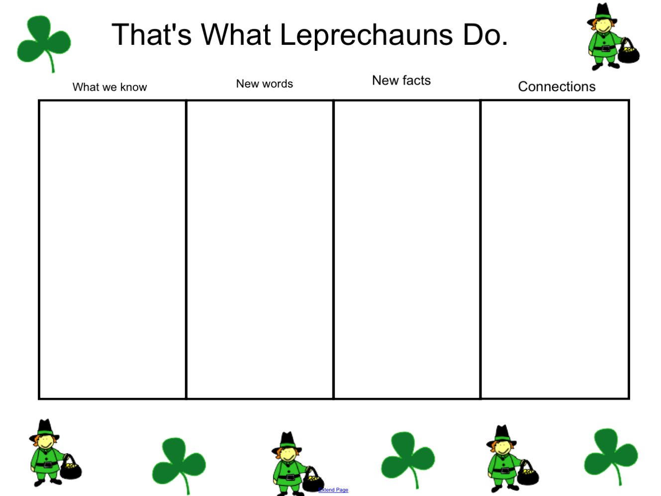 Here is a premade schema chart for the story That's What Leprechauns ...